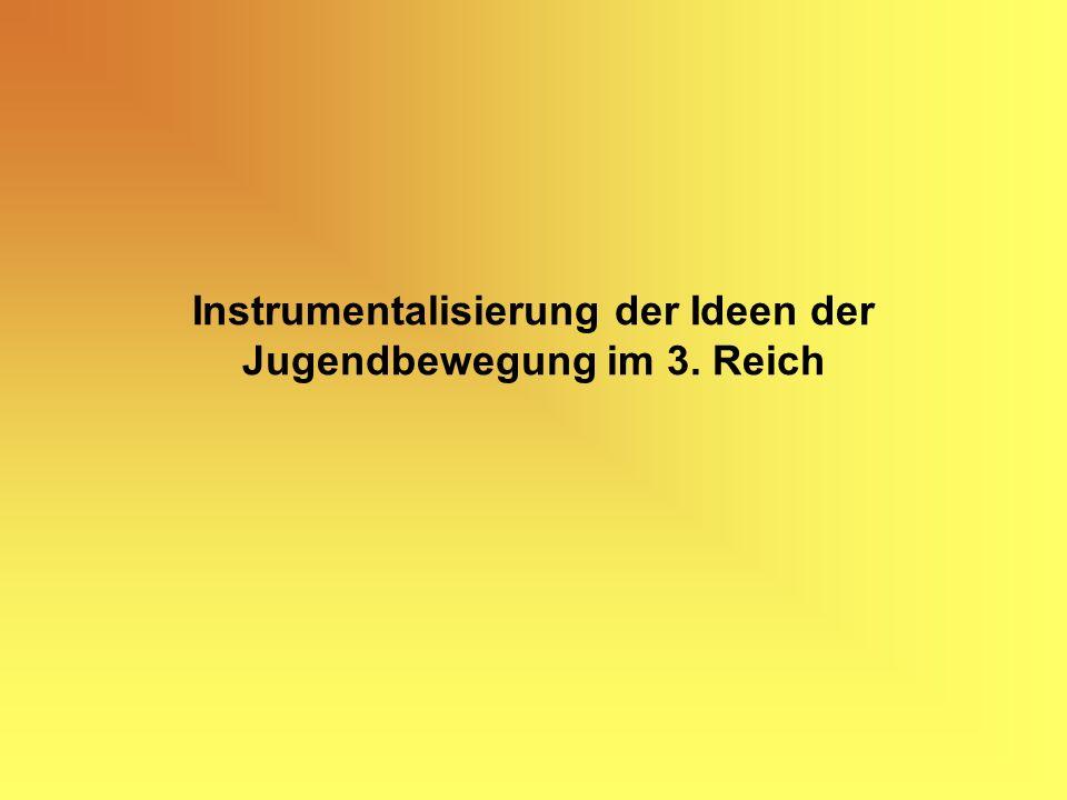 Instrumentalisierung der Ideen der Jugendbewegung im 3. Reich