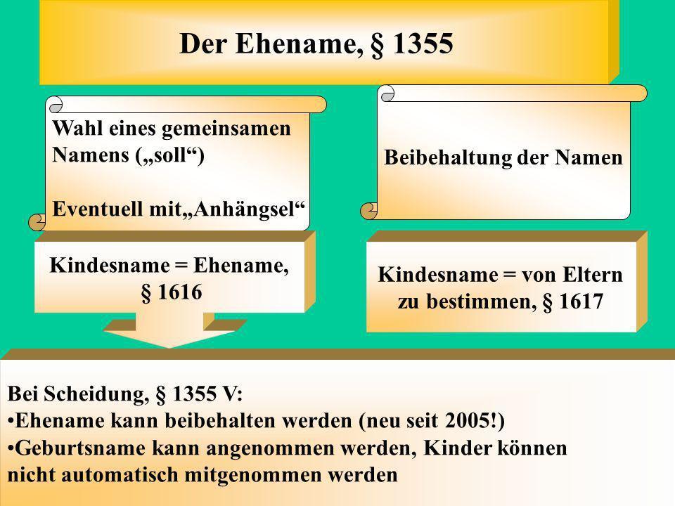 Der Ehename (§ 1355 ) Die eheliche Lebensgemeinschaft (§ 1353) Der Unterhalt (§ 1360) Haushaltsführung, Mitarbeit (§ 1356) Die Schlüsselgewalt (§ 1357