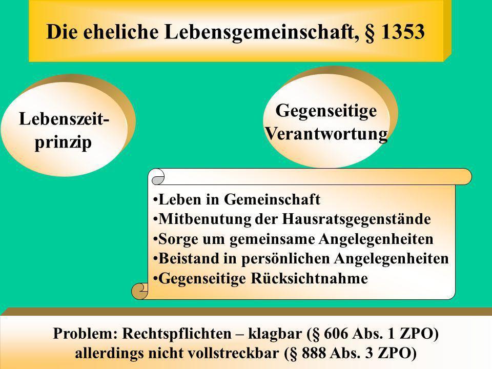 Der Ehename, § 1355 Wahl eines gemeinsamen Namens (soll) Eventuell mitAnhängsel Beibehaltung der Namen Kindesname = Ehename, § 1616 Bei Scheidung, § 1
