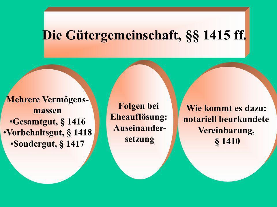 Die Gütertrennung, 1414 Ehe lässt Vermögensverhältnisse unangetastet Folgen bei Eheauflösung: keine Wie kommt es dazu: notariell beurkundete Vereinbar