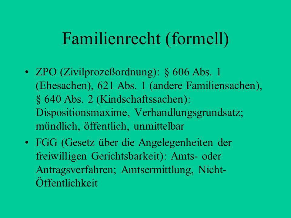 Rechtsquellen des materiellen Familienrechts Art 6 Abs. 1 und 2 GG 4. Buch BGB §§ 1297 – 1921 : Rechte aus Ehe und Abstammung Überblick: s. Gliederung