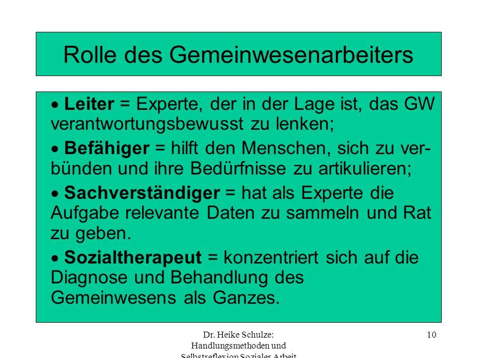 Dr. Heike Schulze: Handlungsmethoden und Selbstreflexion Sozialer Arbeit 10 Rolle des Gemeinwesenarbeiters Leiter = Experte, der in der Lage ist, das