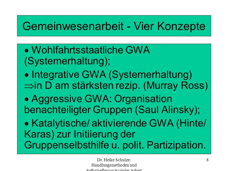 Dr. Heike Schulze: Handlungsmethoden und Selbstreflexion Sozialer Arbeit 8 Gemeinwesenarbeit - Vier Konzepte Wohlfahrtsstaatliche GWA (Systemerhaltung