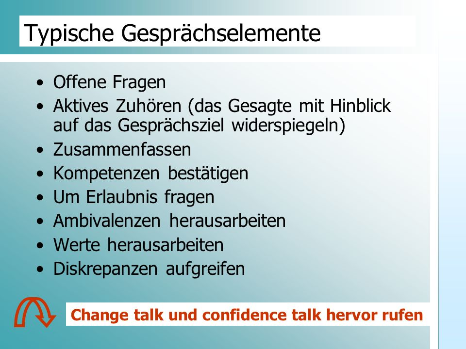 Dr. Udo Gnasa Typische Gesprächselemente Offene Fragen Aktives Zuhören (das Gesagte mit Hinblick auf das Gesprächsziel widerspiegeln) Zusammenfassen K