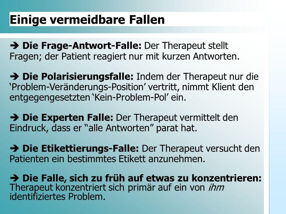 Dr. Udo Gnasa Einige vermeidbare Fallen Die Frage-Antwort-Falle: Der Therapeut stellt Fragen; der Patient reagiert nur mit kurzen Antworten. Die Polar