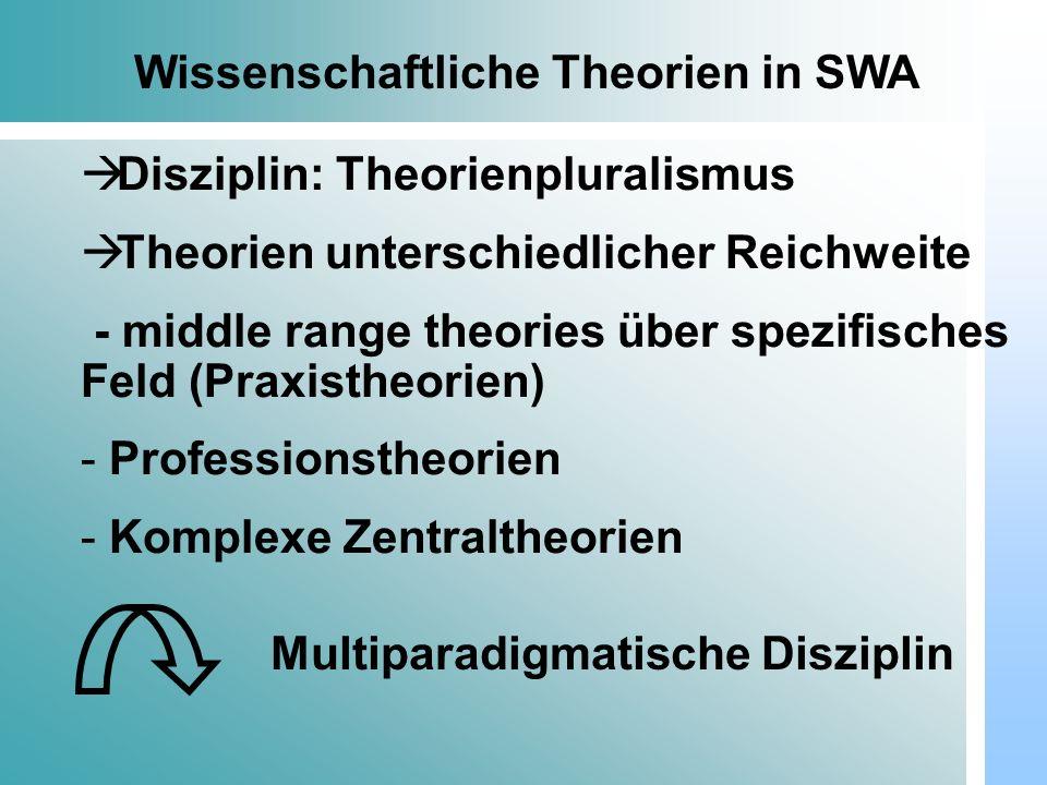 Dr. Udo Gnasa Wissenschaftliche Theorien in SWA Disziplin: Theorienpluralismus Theorien unterschiedlicher Reichweite - middle range theories über spez