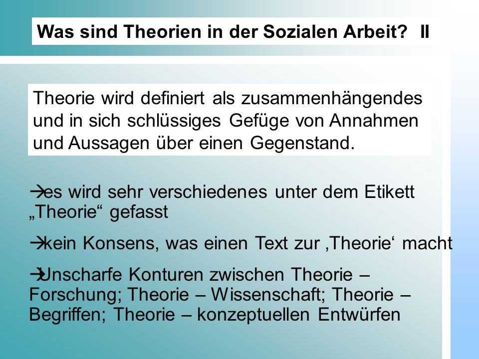 Dr. Udo Gnasa Was sind Theorien in der Sozialen Arbeit? II es wird sehr verschiedenes unter dem Etikett Theorie gefasst kein Konsens, was einen Text z