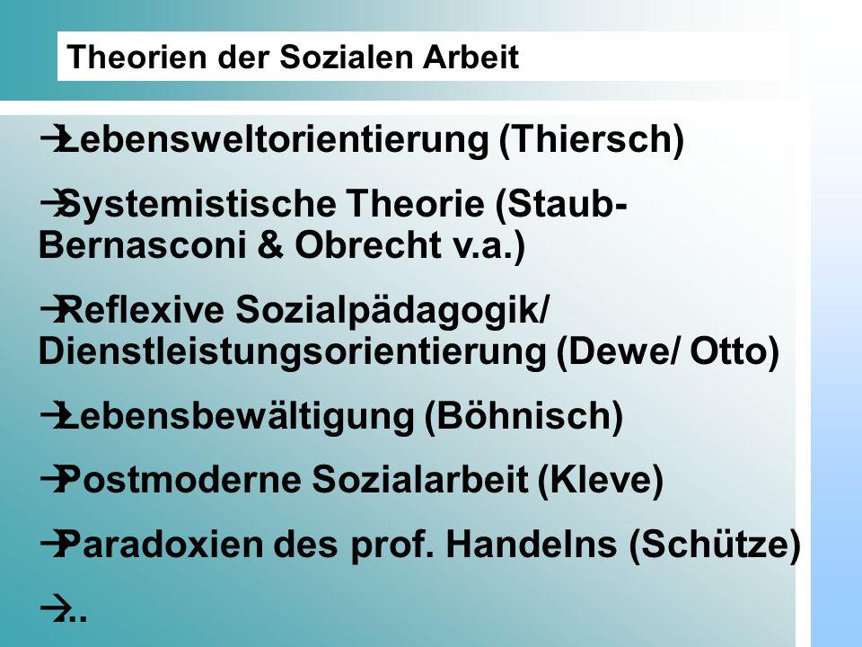 Dr. Udo Gnasa Theorien der Sozialen Arbeit Lebensweltorientierung (Thiersch) Systemistische Theorie (Staub- Bernasconi & Obrecht v.a.) Reflexive Sozia