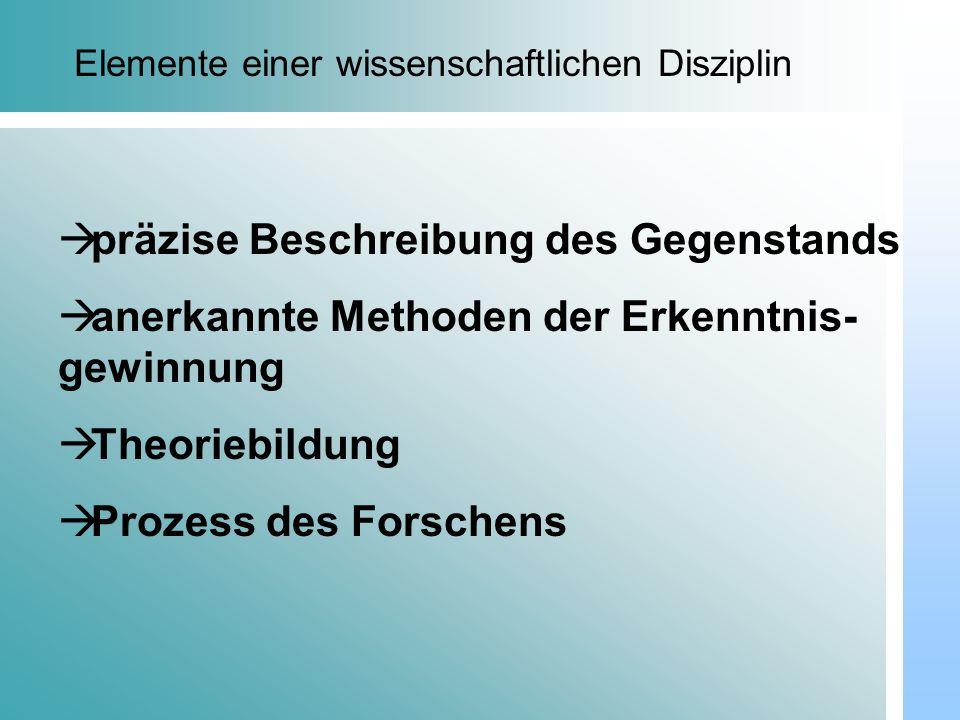 Dr. Udo Gnasa Elemente einer wissenschaftlichen Disziplin präzise Beschreibung des Gegenstands anerkannte Methoden der Erkenntnis- gewinnung Theoriebi