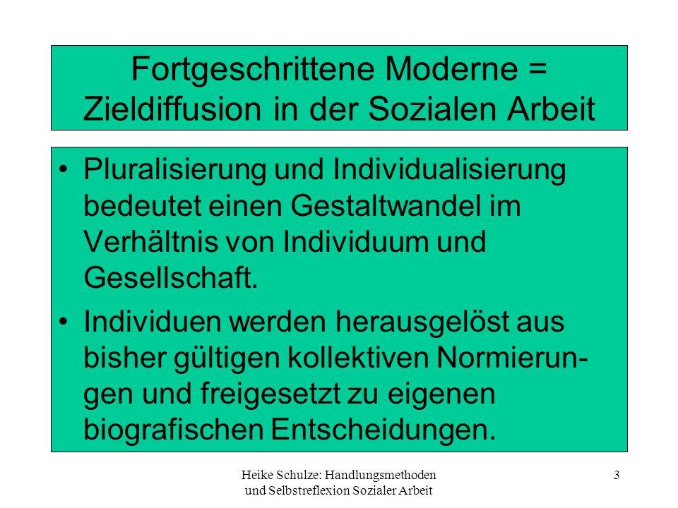 Heike Schulze: Handlungsmethoden und Selbstreflexion Sozialer Arbeit 3 Fortgeschrittene Moderne = Zieldiffusion in der Sozialen Arbeit Pluralisierung