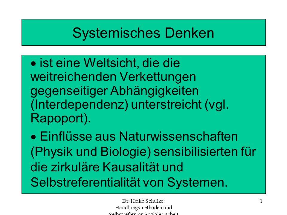 Dr. Heike Schulze: Handlungsmethoden und Selbstreflexion Sozialer Arbeit 1 Systemisches Denken ist eine Weltsicht, die die weitreichenden Verkettungen