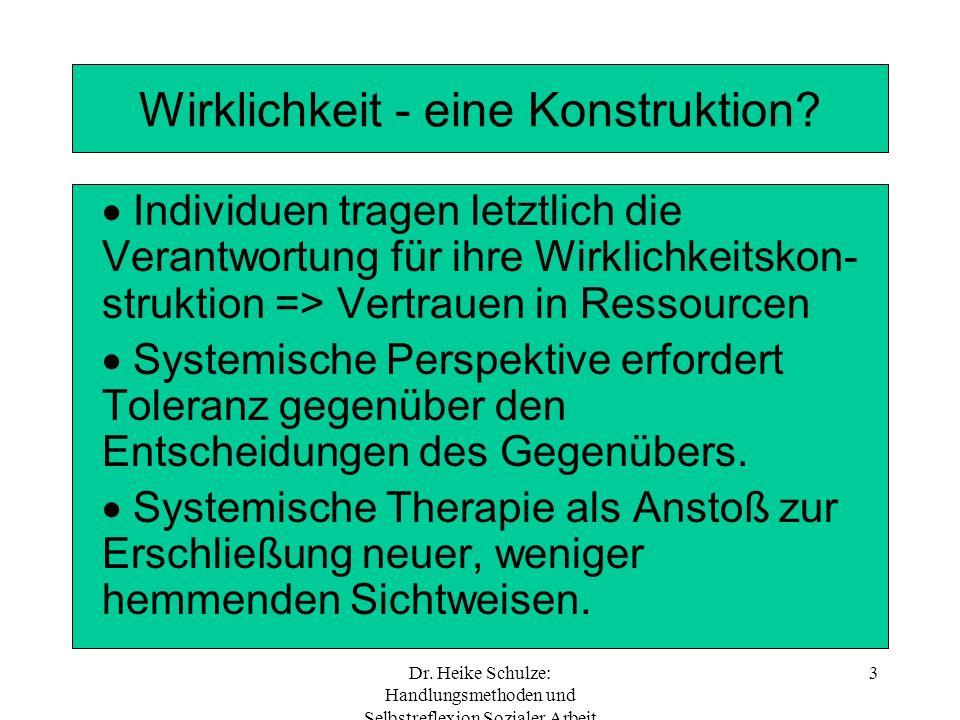 Dr. Heike Schulze: Handlungsmethoden und Selbstreflexion Sozialer Arbeit 3 Wirklichkeit - eine Konstruktion? Individuen tragen letztlich die Verantwor
