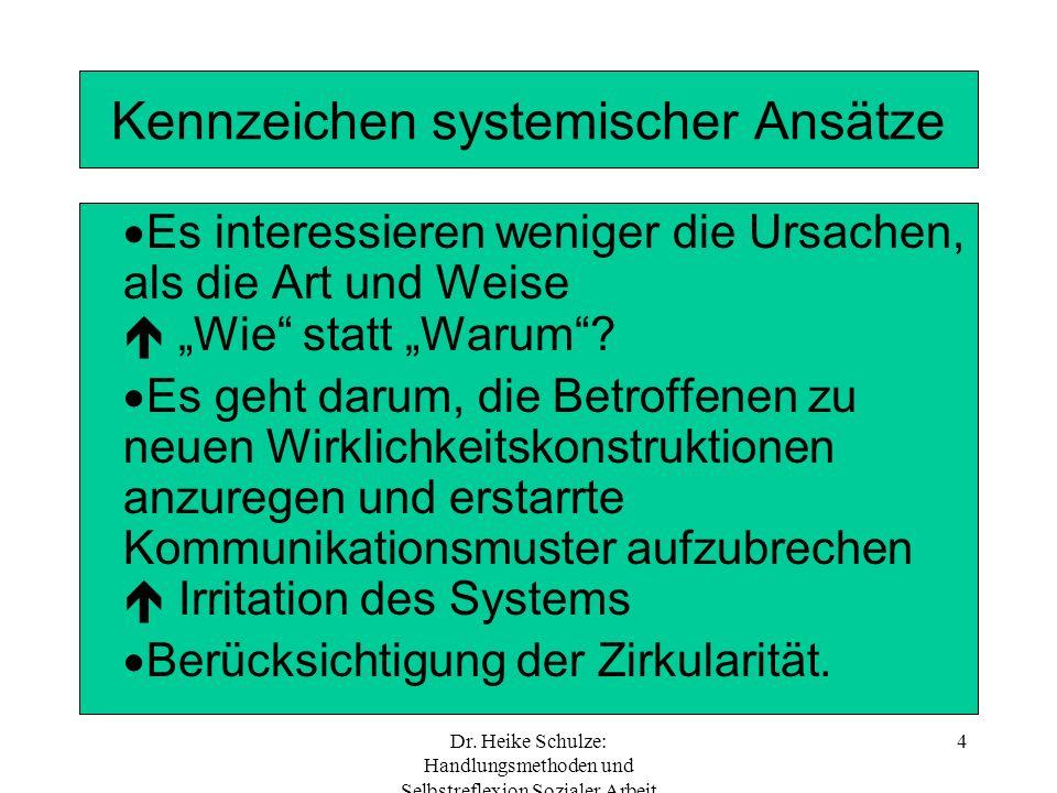 Dr. Heike Schulze: Handlungsmethoden und Selbstreflexion Sozialer Arbeit 4 Kennzeichen systemischer Ansätze Es interessieren weniger die Ursachen, als