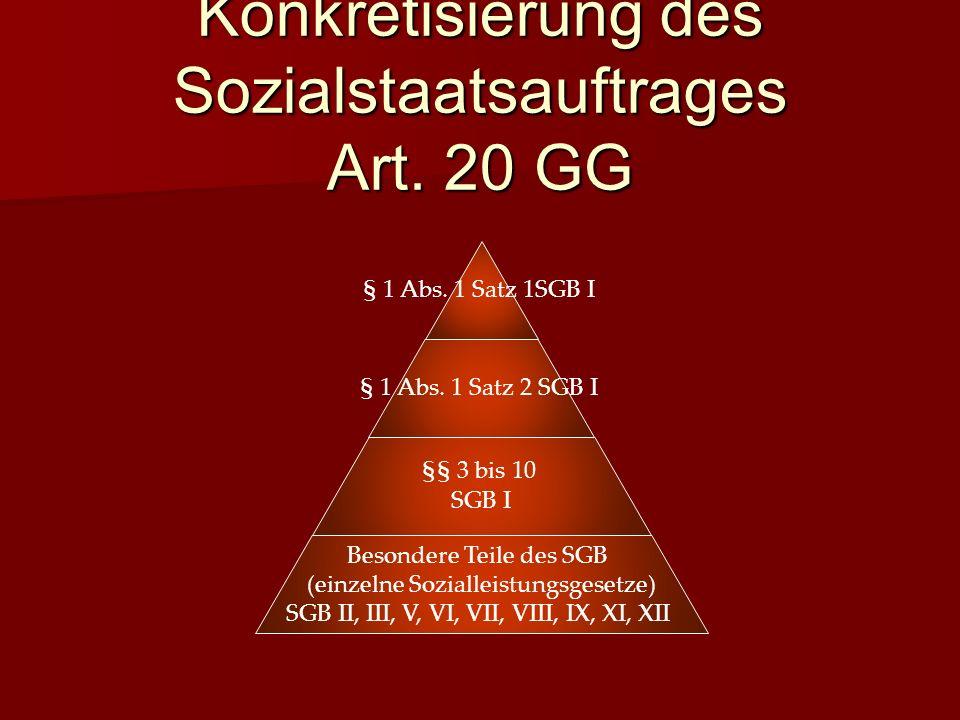 Konkretisierung des Sozialstaatsauftrages Art.20 GG § 1 Abs.