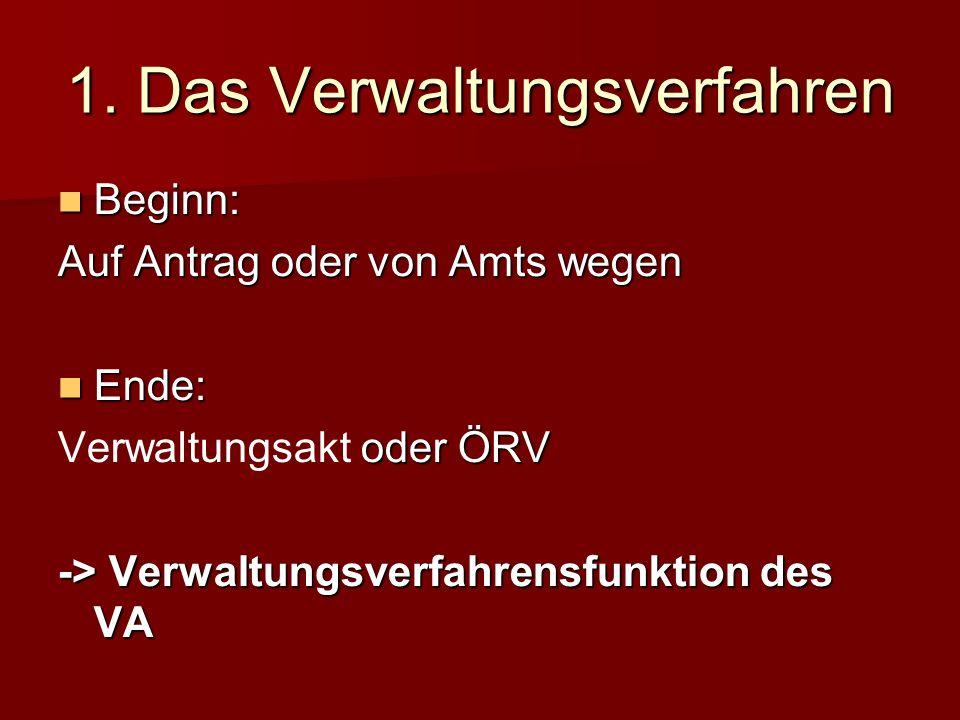 1. Das Verwaltungsverfahren Beginn: Auf Antrag oder von Amts wegen Ende: Verwaltungsakt oder ÖRV -> Verwaltungsverfahrensfunktion des VA