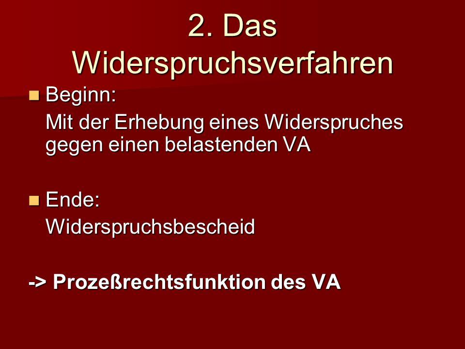 2. Das Widerspruchsverfahren Beginn: Mit der Erhebung eines Widerspruches gegen einen belastenden VA Ende: Widerspruchsbescheid -> Prozeßrechtsfunktio