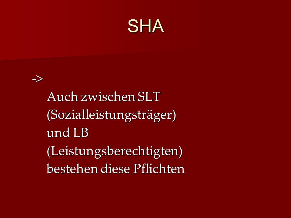 SHA -> Auch zwischen SLT (Sozialleistungsträger) und LB (Leistungsberechtigten) bestehen diese Pflichten