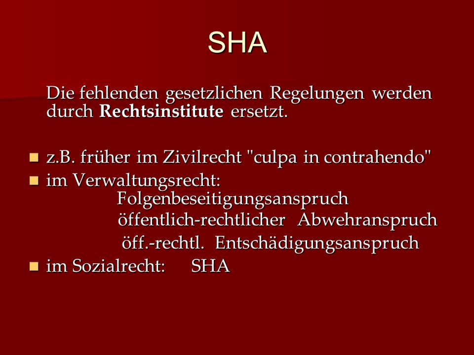 SHA Die fehlenden gesetzlichen Regelungen werden durch Rechtsinstitute ersetzt.