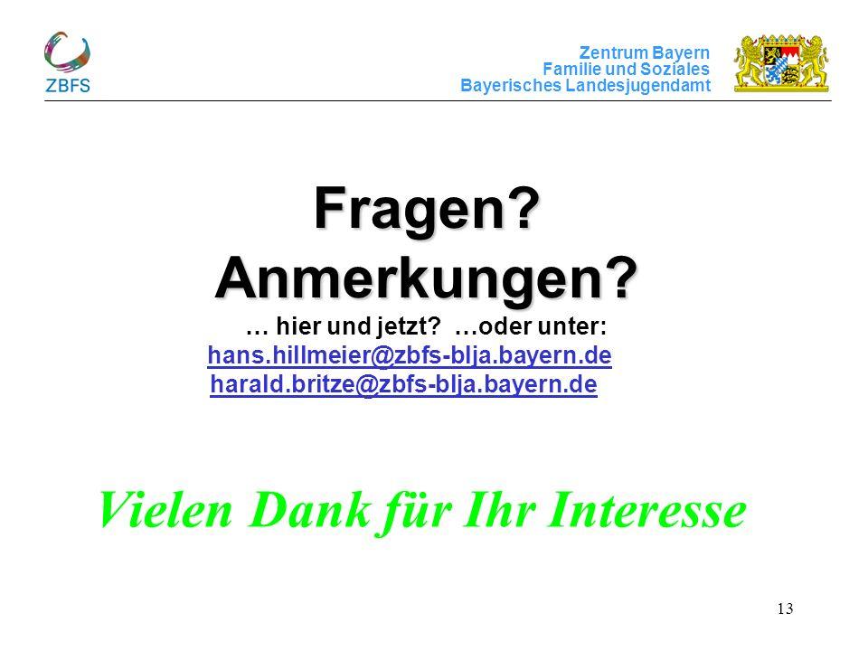 Zentrum Bayern Familie und Soziales Bayerisches Landesjugendamt 13 Fragen? Anmerkungen? Fragen? Anmerkungen? … hier und jetzt? …oder unter: hans.hillm
