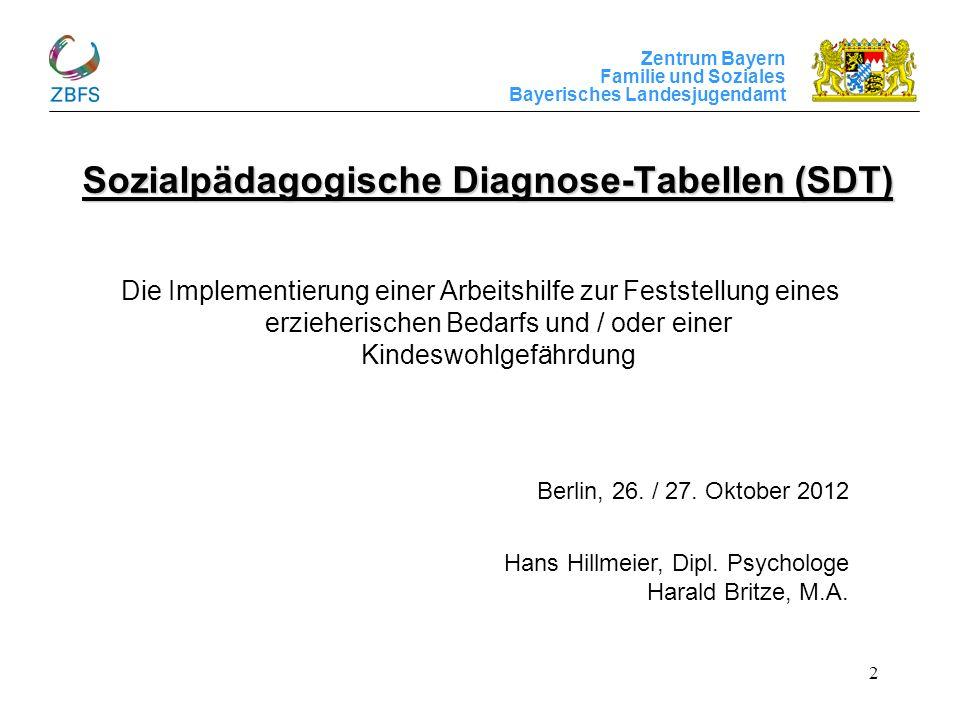 Zentrum Bayern Familie und Soziales Bayerisches Landesjugendamt 2 Sozialpädagogische Diagnose-Tabellen (SDT) Die Implementierung einer Arbeitshilfe zu