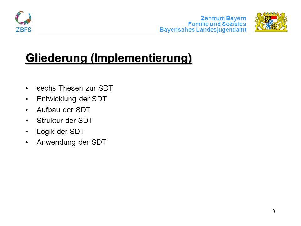 Zentrum Bayern Familie und Soziales Bayerisches Landesjugendamt 3 Gliederung (Implementierung) sechs Thesen zur SDT Entwicklung der SDT Aufbau der SDT