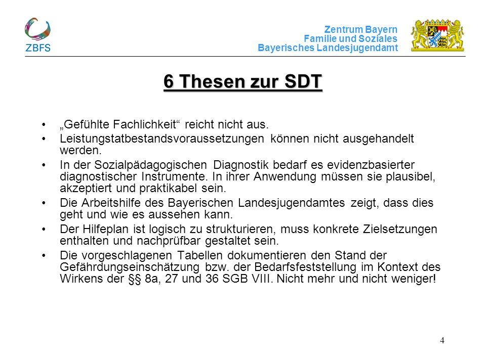 Zentrum Bayern Familie und Soziales Bayerisches Landesjugendamt 4 6 Thesen zur SDT Gefühlte Fachlichkeit reicht nicht aus. Leistungstatbestandsvorauss