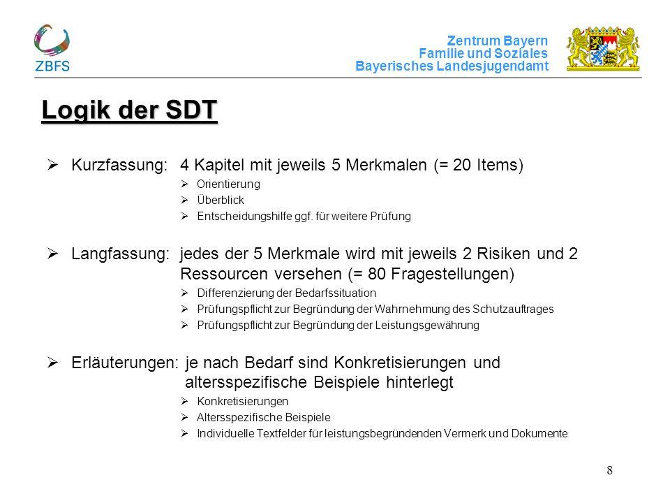 Zentrum Bayern Familie und Soziales Bayerisches Landesjugendamt 8 Logik der SDT Kurzfassung:4 Kapitel mit jeweils 5 Merkmalen (= 20 Items) Orientierun