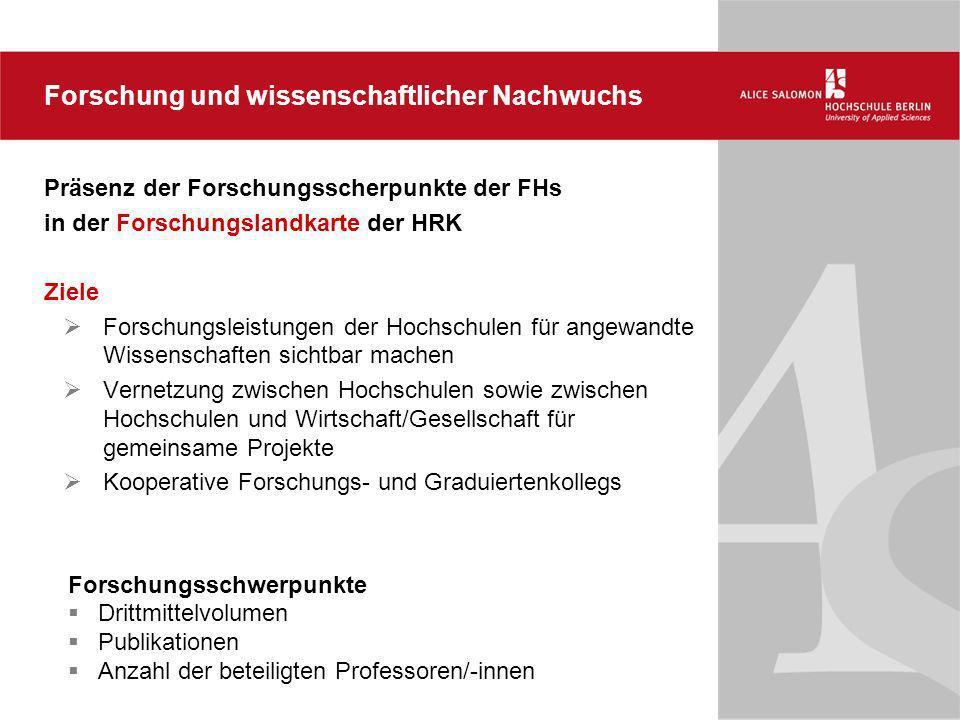 Präsenz der Forschungsscherpunkte der FHs in der Forschungslandkarte der HRK Ziele Forschungsleistungen der Hochschulen für angewandte Wissenschaften