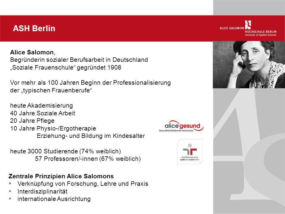 ASH Berlin Alice Salomon, Begründerin sozialer Berufsarbeit in Deutschland Soziale Frauenschule gegründet 1908 Vor mehr als 100 Jahren Beginn der Prof