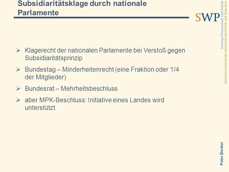 Peter Becker Subsidiaritätsklage durch nationale Parlamente Klagerecht der nationalen Parlamente bei Verstoß gegen Subsidiaritätsprinzip Bundestag – M