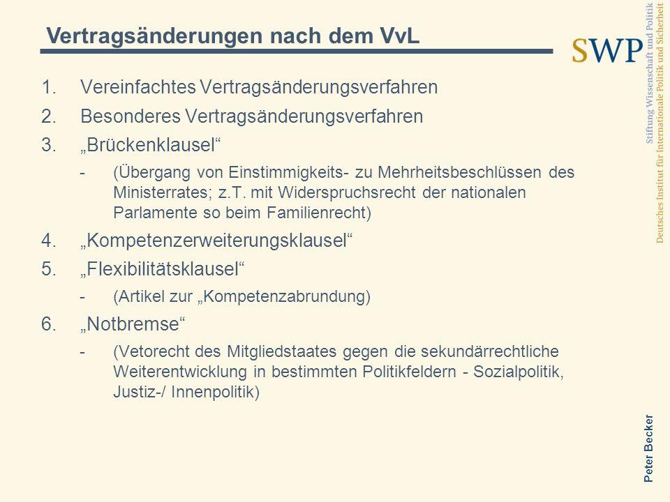 Vertragsänderungen nach dem VvL Vereinfachtes Vertragsänderungsverfahren Besonderes Vertragsänderungsverfahren Brückenklausel -(Übergang von Einstimmigkeits- zu Mehrheitsbeschlüssen des Ministerrates; z.T.