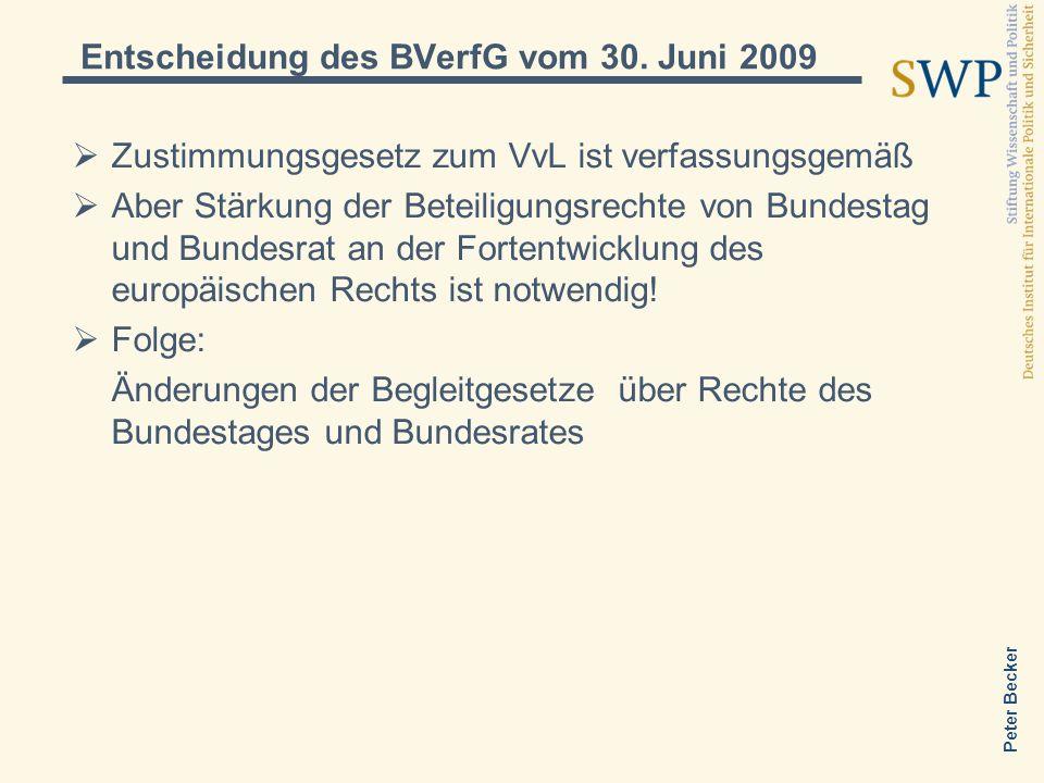 Peter Becker Entscheidung des BVerfG vom 30. Juni 2009 Zustimmungsgesetz zum VvL ist verfassungsgemäß Aber Stärkung der Beteiligungsrechte von Bundest