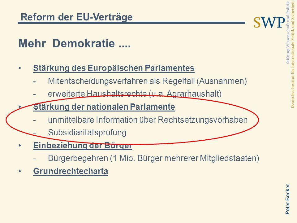 Peter Becker Mehr Demokratie.... Stärkung des Europäischen Parlamentes -Mitentscheidungsverfahren als Regelfall (Ausnahmen) -erweiterte Haushaltsrecht