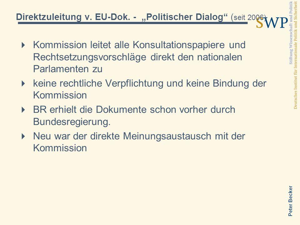 Peter Becker Subsidiaritätsprüfung durch nationale Parlamente Kommission leitet alle Rechtsetzungsvorschläge direkt den nationalen Parlamenten zu Subsidiaritätsrüge binnen acht Wochen nach dem Zeitpunkt der Übermittlung eines Gesetzesentwurfs in den Amtssprachen der Union an die Präsidenten des EP, des Rates und der Kommission Jedes Parlament hat zwei Stimmen, d.h.