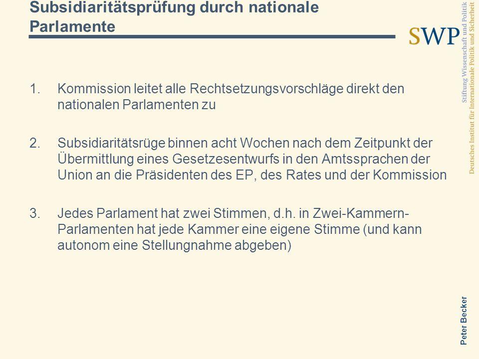 Peter Becker Subsidiaritätsprüfung durch nationale Parlamente Kommission leitet alle Rechtsetzungsvorschläge direkt den nationalen Parlamenten zu Subs