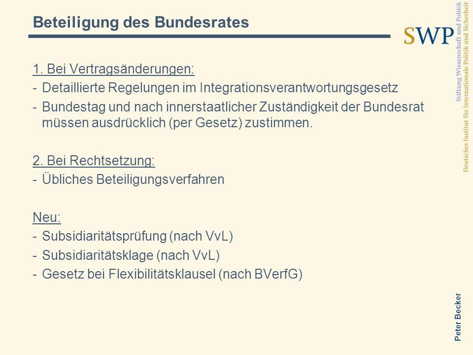 Peter Becker 1. Bei Vertragsänderungen: -Detaillierte Regelungen im Integrationsverantwortungsgesetz -Bundestag und nach innerstaatlicher Zuständigkei