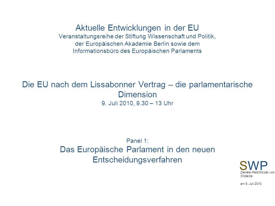 SWP Daniela Kietz/Nicolai von Ondarza am 9. Juli 2010 Aktuelle Entwicklungen in der EU Veranstaltungsreihe der Stiftung Wissenschaft und Politik, der