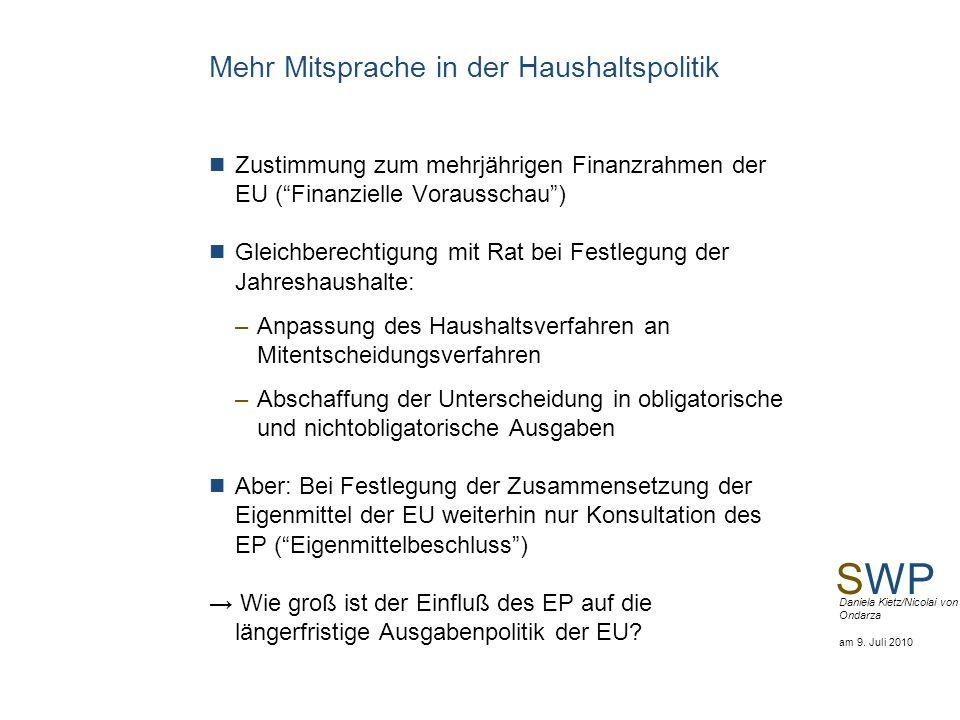 SWP Daniela Kietz/Nicolai von Ondarza am 9. Juli 2010 Mehr Mitsprache in der Haushaltspolitik Zustimmung zum mehrjährigen Finanzrahmen der EU (Finanzi