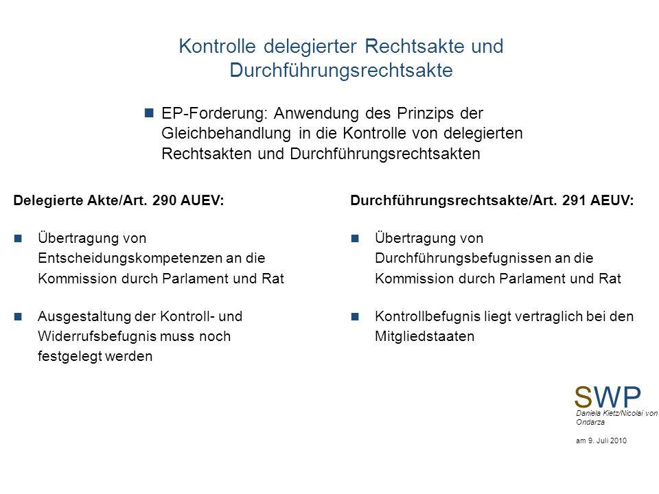 SWP Daniela Kietz/Nicolai von Ondarza am 9. Juli 2010 Kontrolle delegierter Rechtsakte und Durchführungsrechtsakte EP-Forderung: Anwendung des Prinzip
