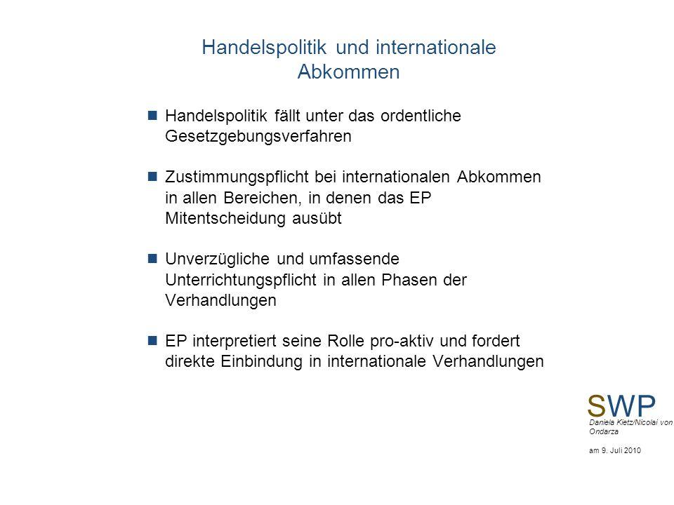 SWP Daniela Kietz/Nicolai von Ondarza am 9. Juli 2010 Handelspolitik und internationale Abkommen Handelspolitik fällt unter das ordentliche Gesetzgebu