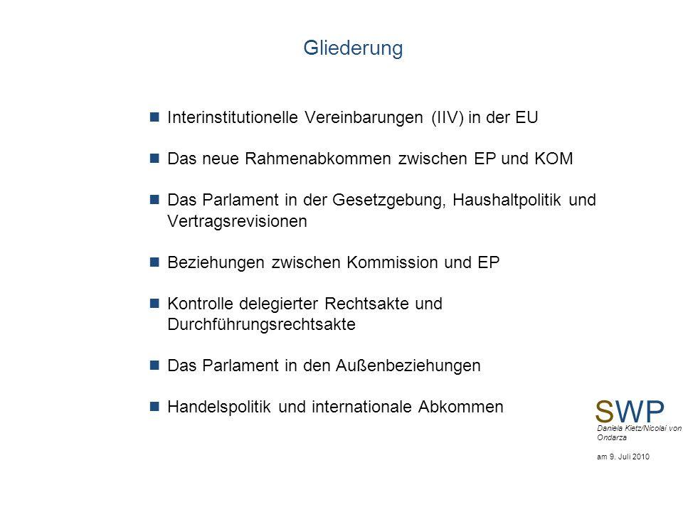SWP Daniela Kietz/Nicolai von Ondarza am 9. Juli 2010 Gliederung Interinstitutionelle Vereinbarungen (IIV) in der EU Das neue Rahmenabkommen zwischen