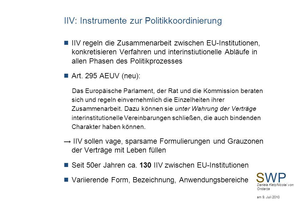 SWP Daniela Kietz/Nicolai von Ondarza am 9. Juli 2010 IIV: Instrumente zur Politikkoordinierung IIV regeln die Zusammenarbeit zwischen EU-Institutione