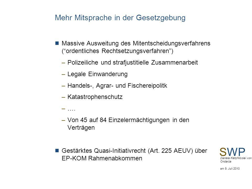 SWP Daniela Kietz/Nicolai von Ondarza am 9. Juli 2010 Mehr Mitsprache in der Gesetzgebung Massive Ausweitung des Mitentscheidungsverfahrens (ordentlic