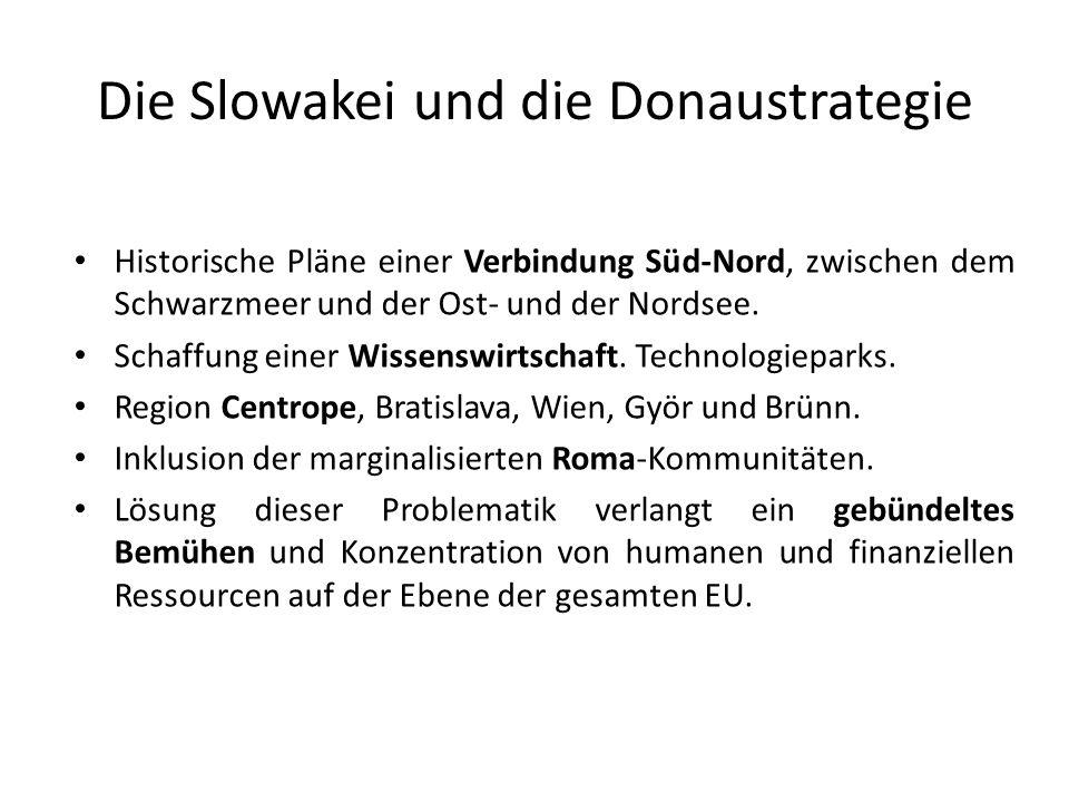 Die Slowakei und die Donaustrategie Historische Pläne einer Verbindung Süd-Nord, zwischen dem Schwarzmeer und der Ost- und der Nordsee. Schaffung eine