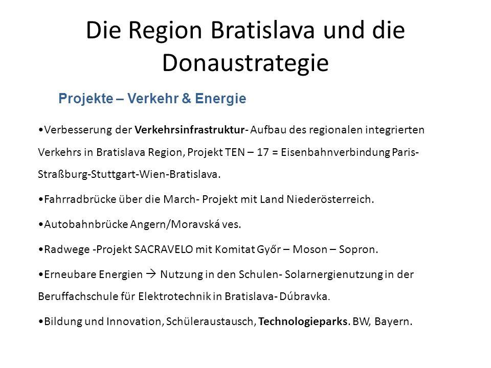 Die Region Bratislava und die Donaustrategie Projekte – Verkehr & Energie Verbesserung der Verkehrsinfrastruktur- Aufbau des regionalen integrierten V