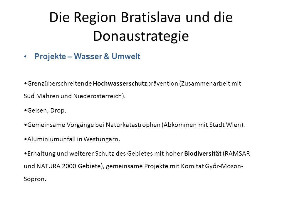 Die Region Bratislava und die Donaustrategie Projekte – Wasser & Umwelt Grenzüberschreitende Hochwasserschutzprävention (Zusammenarbeit mit Süd Mahren