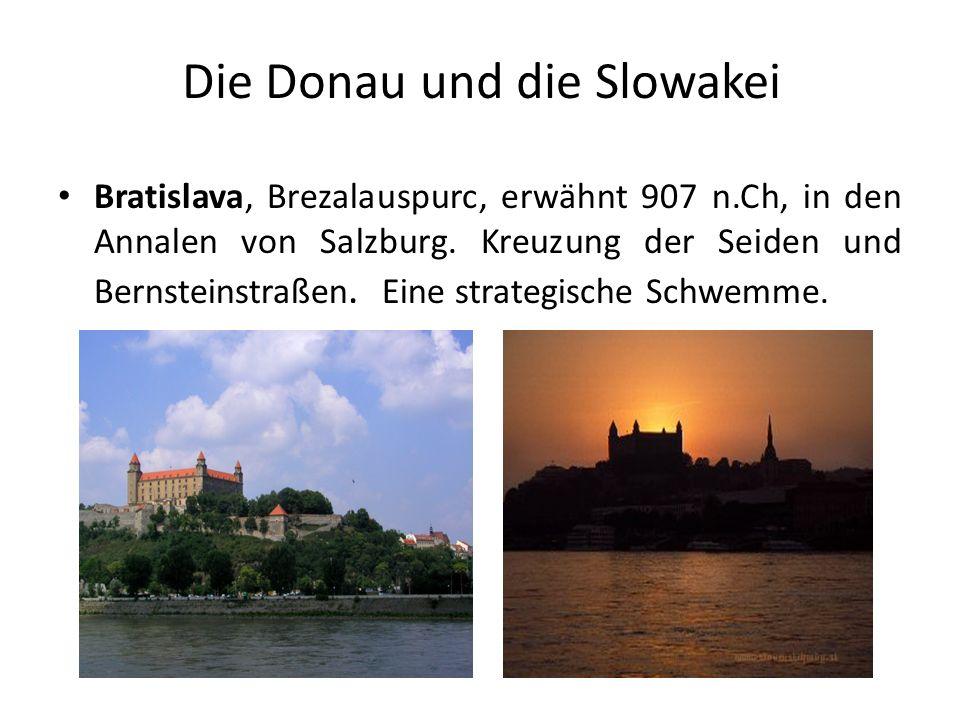 Die Donau und die Slowakei Bratislava, Brezalauspurc, erwähnt 907 n.Ch, in den Annalen von Salzburg. Kreuzung der Seiden und Bernsteinstraßen. Eine st