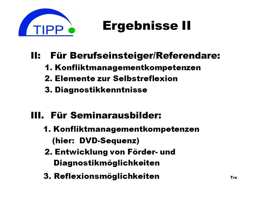 Ergebnisse des TIPP Projektes I. Studierende/Referendare: 1.Erwerb von Wahrnehmungskompetenzen 2.Kommunikationskompetenzen 3.Konfliktmanagementkompete