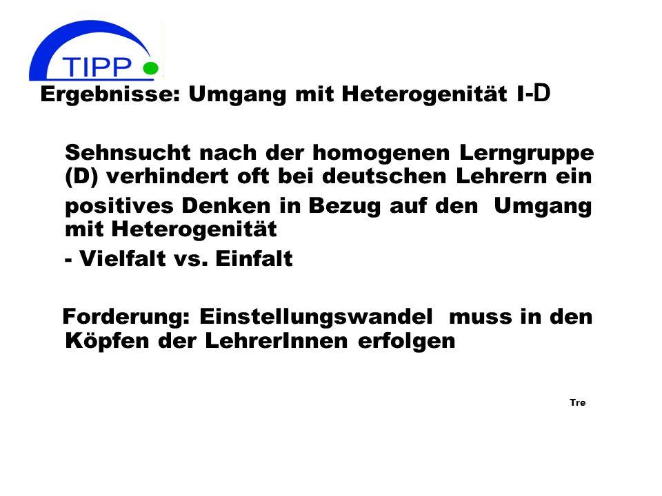 Ergebnisse: Umgang mit Heterogenität I -D Sehnsucht nach der homogenen Lerngruppe (D) verhindert oft bei deutschen Lehrern ein positives Denken in Bezug auf den Umgang mit Heterogenität - Vielfalt vs.