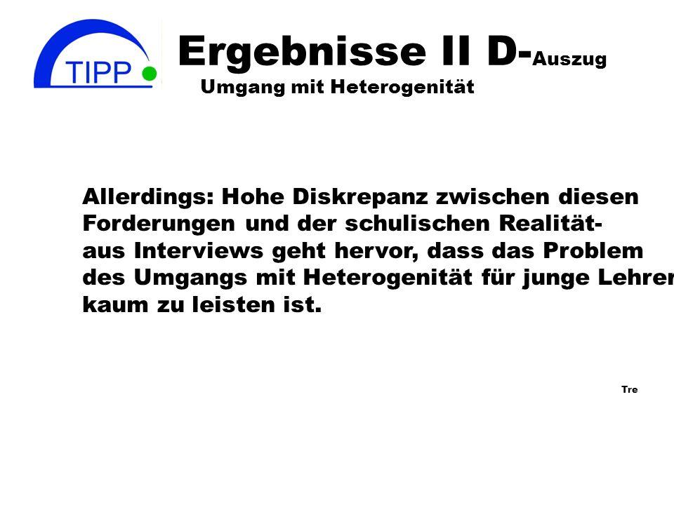 Ergebnisse: Umgang mit Heterogenität I -D Sehnsucht nach der homogenen Lerngruppe (D) verhindert oft bei deutschen Lehrern ein positives Denken in Bez